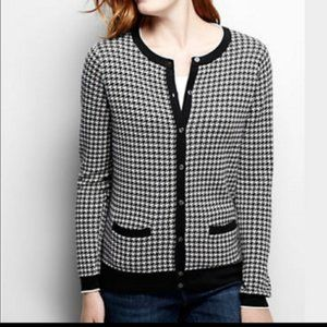 Land's End Houndstooth Supima Cotton Cardigan L/P